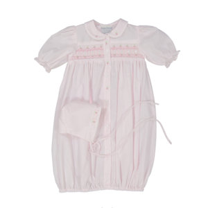 Feltman Brothers Pink Ribbon Smocked Gown with Roses