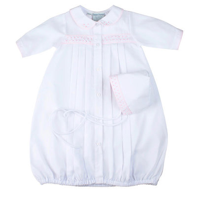 Feltman Brothers White with Pink Trim & Dot Infant Gown & Hat