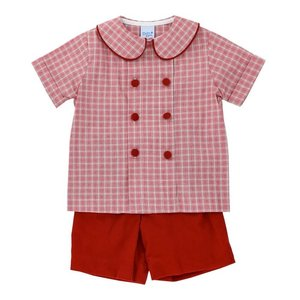 Bailey Boys Wembley Plaid/Red Cord Dressy Short Set