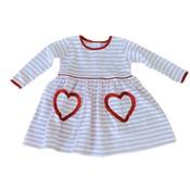 Squiggles Pink Stripe Dress w/Red Trim Heart Pockets