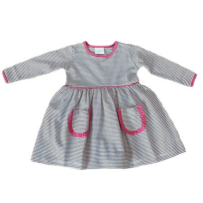Squiggles Navy Stripe Pocket Dress w/Hot Pink Trim