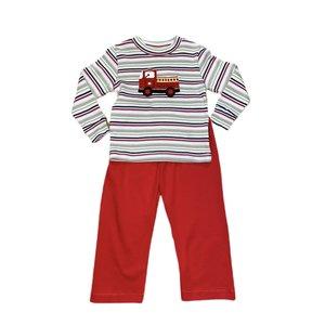Squiggles Firetruck Stripe Pant Set