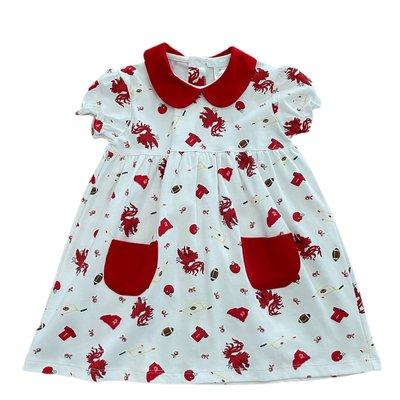 Lulu Bebe LLC Gamecock Short Sleeve Collar Dress