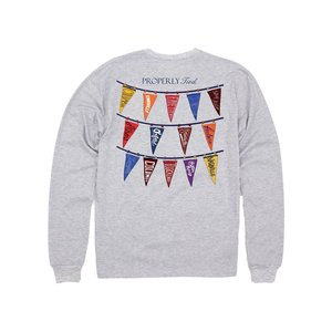 Properly Tied Lt Heather Grey Classic Pennants L/S Tee