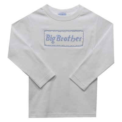 Vive La Fete Big Brother Smocked White Knit Long Sleeve Top & Pant Set