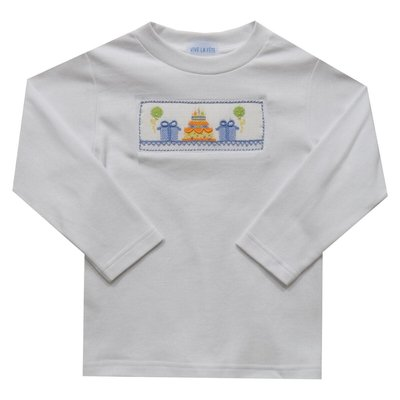 Vive La Fete Birthday Boy Smocked White Knit Long Sleeve Top & Pants Set