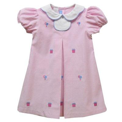 Monday's Child Birthday Embroidered Light Pink Corduroy Short Sleeve Dress