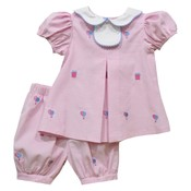 Monday's Child Birthday Embroidered Light Pink Corduroy Bloomer Set