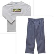 Vive La Fete Bass Fishing Smocked Long Sleeve Shirt & Pants Set