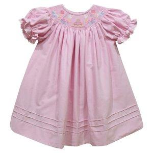 Vive La Fete Birthday Smocked Pink Corduroy Short Sleeve Dress