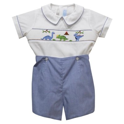 Collection Bebe Dinosaurs Smocked Royal Micro Check Short Sleeve Button OnSet