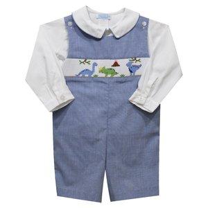 Collection Bebe Dinosaurs Smocked Royal Micro Check Longallw/Shirt