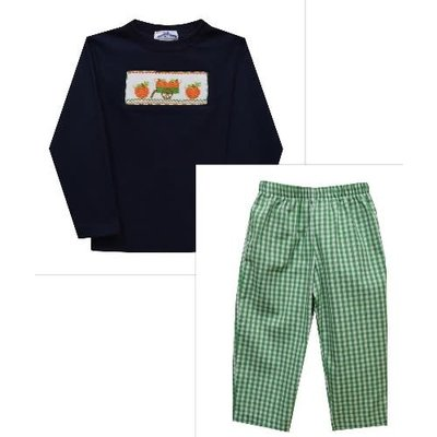 Silly Goose Pumpkin Smocked Navy/Green Pant Set