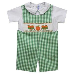 Silly Goose Pumpkin Smocked Kelly Green Check Shortall w/Shirt