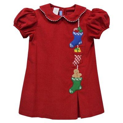 Monday's Child Christmas Stocking Applique Red Corduroy Aline Dress
