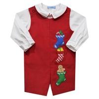 Monday's Child Christmas Stocking Applique Red Corduroy Shortall w/Shirt
