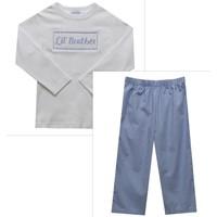 Vive La Fete Little BrotherSmocked White Long Sleeve Top & Pant Set