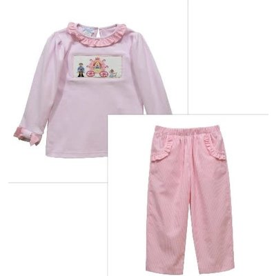Vive La Fete Princess Carriage Smocked Lt Pink Blouse & Pant Set