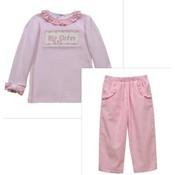 Vive La Fete Big Sister Smocked Lt Pink Long Sleeve Blouse & Pant Set