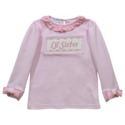 Vive La Fete Little Sister Smocked Lt Pink Long Sleeve Blouse & Pant Set