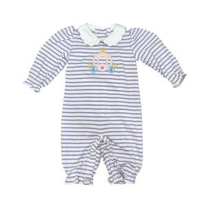 Zuccini Lavender & White Stripe Knit Carriage Bubble