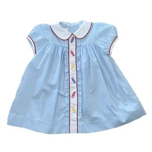 Zuccini Plaid Crayons Embroidered Dress