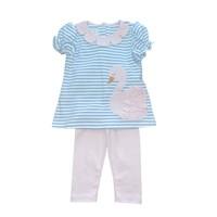 Zuccini Cloud & White Stripe Knit Swan Applique Legging Set