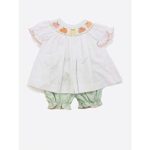 Lulu Bebe LLC Green Gingham & White Smocked Pumpkins Bloomer Set