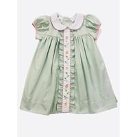 Lulu Bebe LLC Green Gingham Pumpkins Embroidered Dress