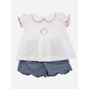 Lulu Bebe LLC White Apple Embroiderd Top with Navy Check Short