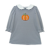 Zuccini Pumpkin Applique Navy Stripe Louisa Knit Dress