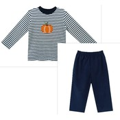 Zuccini Pumpkin Applique Navy Stripe Knit Pant Set