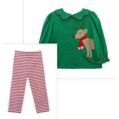 Zuccini Reindeer Applique Christmas Green  Blythe Legging Set