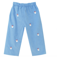 Zuccini Santa Embroidered Party Blue Corduroy Pant