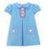 Zuccini Santa Embroidered Cicely Party Blue Corduroy Dress