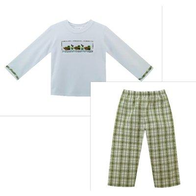 Zuccini Mallard Smocked Woven Plaid Pant Set