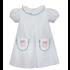 Remember Nguyen White w/Green Dots Embroidered Pumpkin Pocket Dress