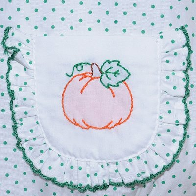 Remember Nguyen White w/Green Dots Embroidered Pumpkin Bubble