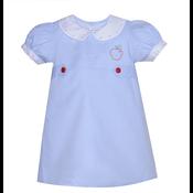 Remember Nguyen Blue Embroidered Apple Dress