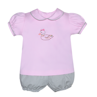 Baby Sen Pink Duck Bloomer Set