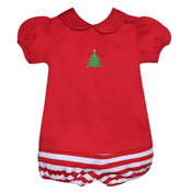 Baby Sen Red Christmas Tree Bloomer Set