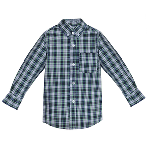 Remember Nguyen Navy Plaid Brother Button Down Shirt
