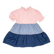 The Oaks Apparel Polly Pink Denim & Navy Tiered Dress