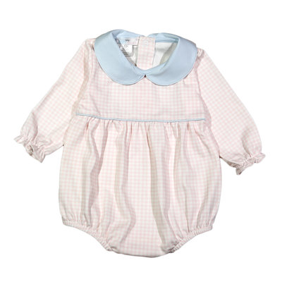 Baby Bliss Corinna Pink/Blue Gingham Pima Bubble