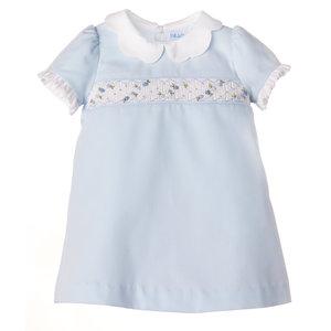 Luli & Me Scallops & Smock Blue A-Line Dress