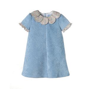 Luli & Me Blue Cord & Floral Print Petal Dress