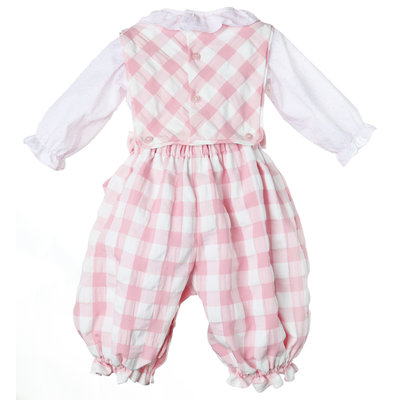 Sophie & Lucas Pink/White Check Classic Girl's Overall