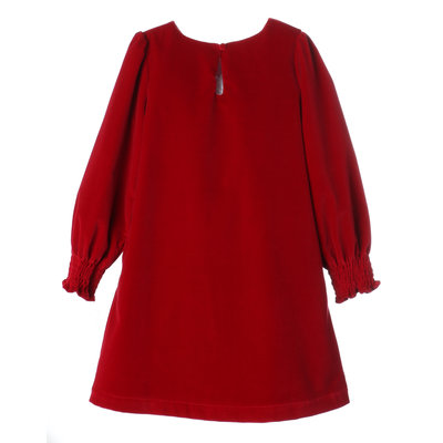 Gabby Red Holly Smocked Cuff Shift Dress