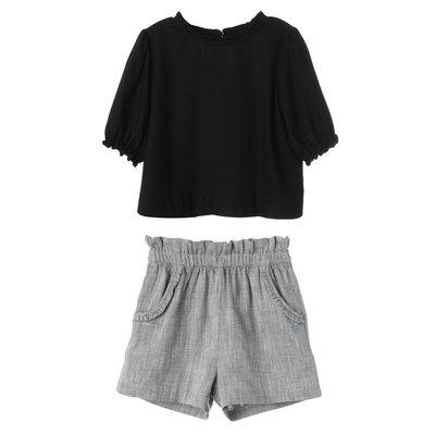 Gabby Black/Gray Poppy Blouse/Short Set