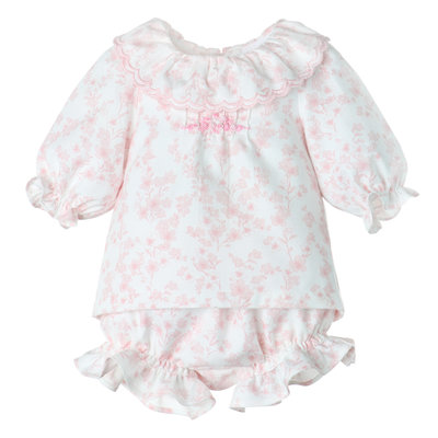 Luli & Me Pink Swiss Dot Floral Dress